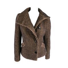 VIVIENNE WESTWOOD Red Label Size 6 Tan & Black Mesh Textured Wool Blend Jacket