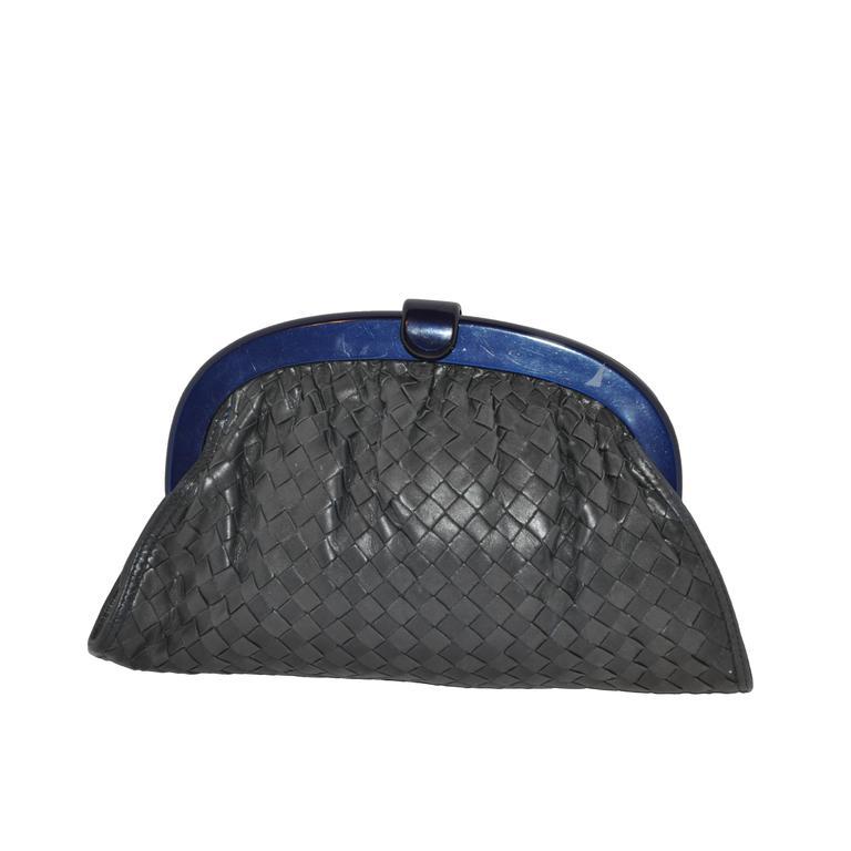 "Bottega Veneta ""Shades of Gray & Black"" Signature Woven Lambskin Clutch For Sale"