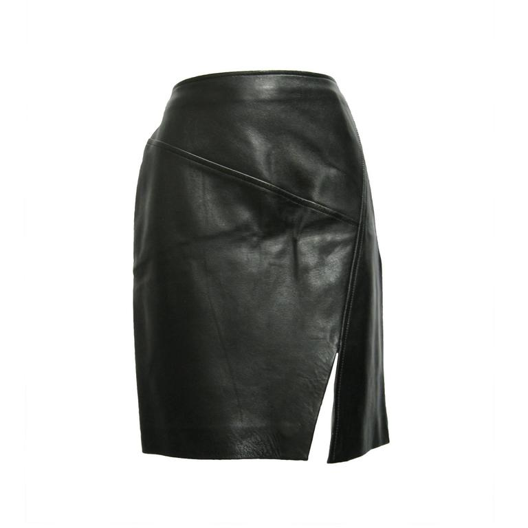 Gucci Leather Pencil Slit Skirt