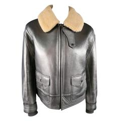 RLX by RALPH LAUREN Size L Metalic Silver Leather Lamb Skin Shearling Jacket