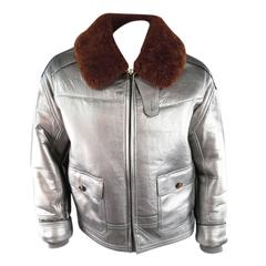 RLX by RALPH LAUREN Mens 42 Metallic Silver Leather Brown Sharling Collar Jacket