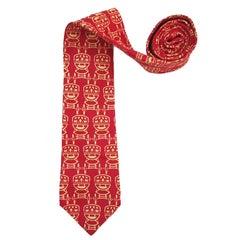 1980s Yves Saint Laurent red tie