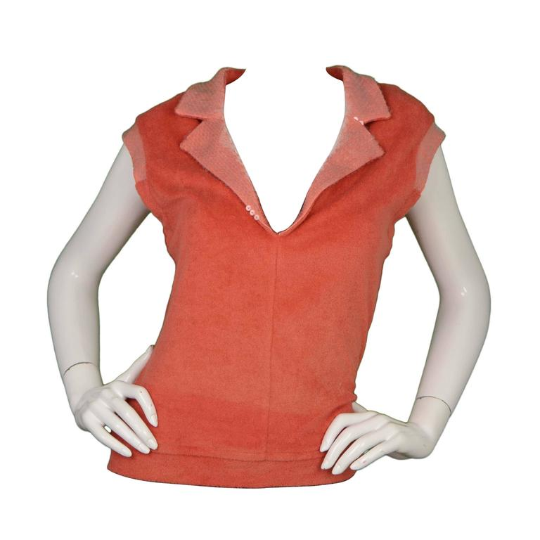 Chanel Coral Terrycloth Sleeveless Top sz 40 1