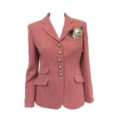 New Susanne Spatt Rose Lambswool Blazer With Handkerchief