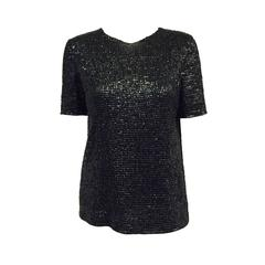 Loewe Nappa Leather Sequin Embroidered Short Sleeve Top