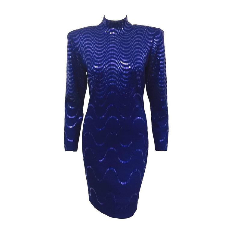 3fe0df2fe4d 1980s St. John by Marie Gray Long Sleeve Royal Blue Knit Cocktail Sheath  For Sale