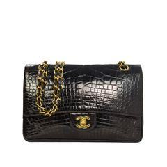 Chanel Vintage '89 Black Crocodile Medium Classic Double Flap Bag GHW