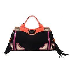 Rare Gucci Black Suede Tassel Fringe Tote Handbag