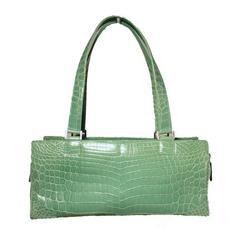 RARE Lambertson Truex Green Crocodile Handbag