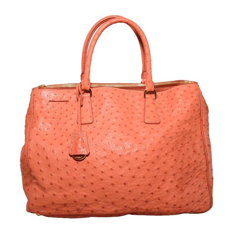 Gorgeous Prada Galleria Saffiano Peach Coral Ostrich Leather Tote Bag