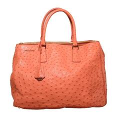 Prada Galleria Saffiano Peach Coral Ostrich Leather Tote Bag