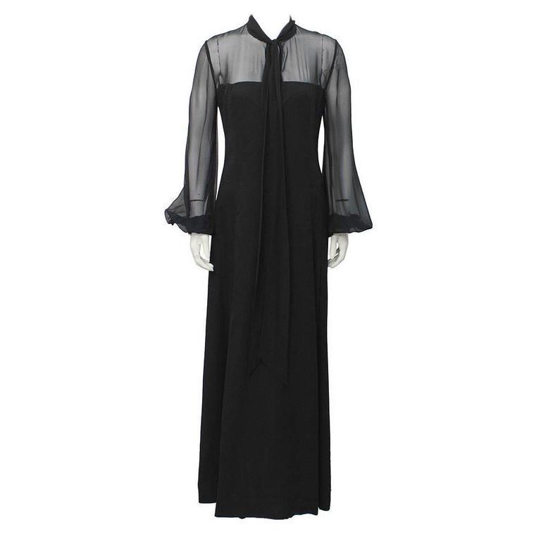 1960's Annacat Black Chiffon Maxi Dress