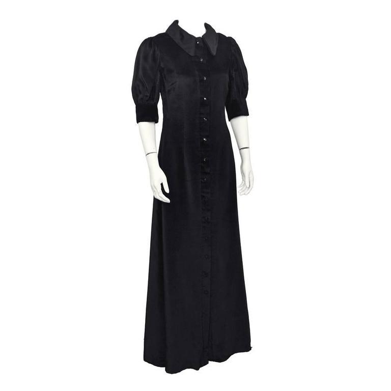 1960's Annacat Black Velvet Maxi Dress