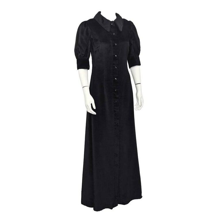 1960's Annacat Black Velvet Maxi Dress  For Sale