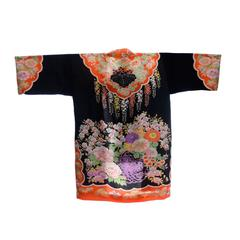 Fine Vintage Japanese Floral Print Silk Kimono Robe or Jacket
