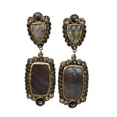 Ella K Papier-Mâché, Gold Leaf, Shagreen, & Mother of Pearl Clip Earrings