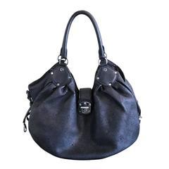 Louis Vuitton Mahina Large Black Leather Hobo Shoulder Bag Purse
