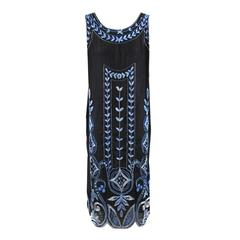 Beaded and Embroidered Blue Silk Flapper Dress