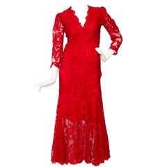1983 Yves Saint Laurent Bright Red Haute Couture Evening Gown