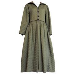 1970's SAINT LAURENT Iconic quilted coat dress