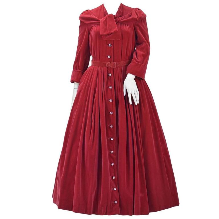 1950s YSL for Christian Dior Red Velvet Button Front Dress  For Sale