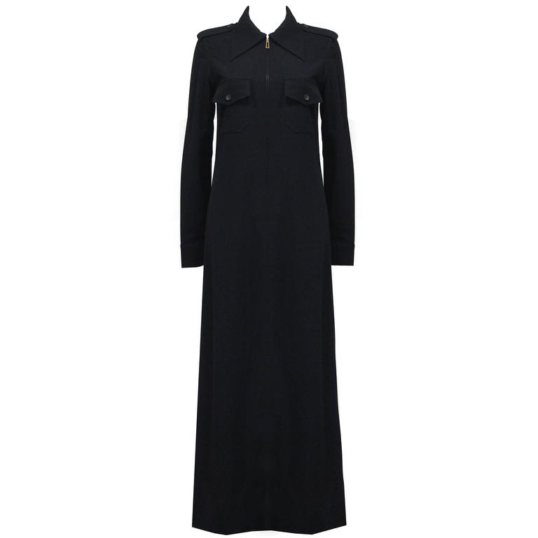 1990s Tom Ford for Gucci black safari style maxi dress c. 1996 For Sale