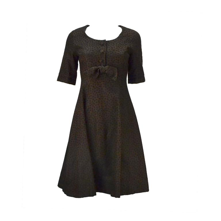 1950s Christian Dior Paris Numbered Brown and Black Dress 1