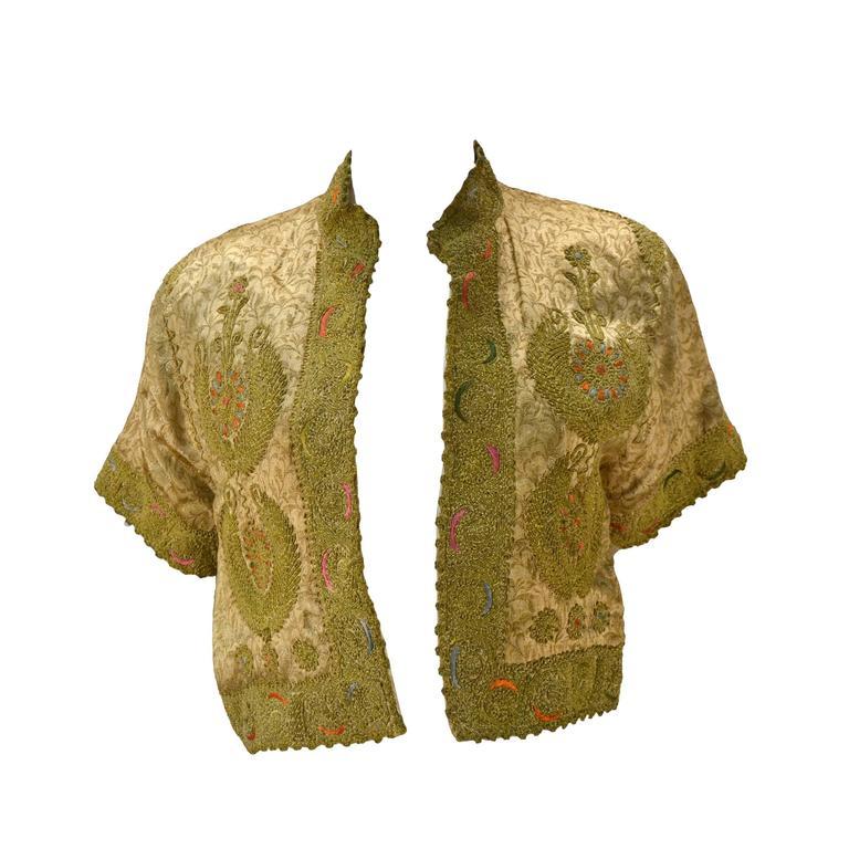 S custom vintage embroidered gold silk bolero jacket