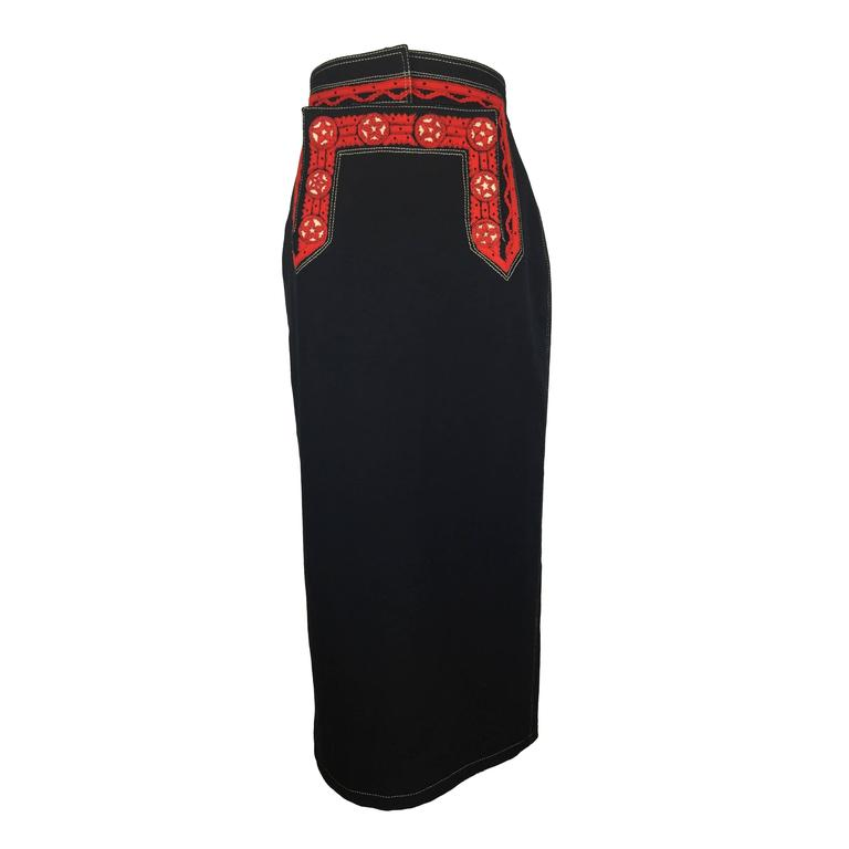 Jean Paul Gaultier Black Wool Folkloric Long Skirt.