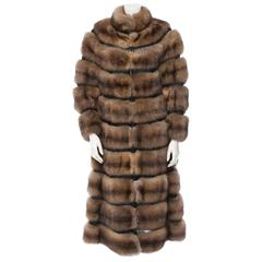 Ralph Rucci Russian Bargazun Sable Reversible Coat w. Leather Cord Accents 2013