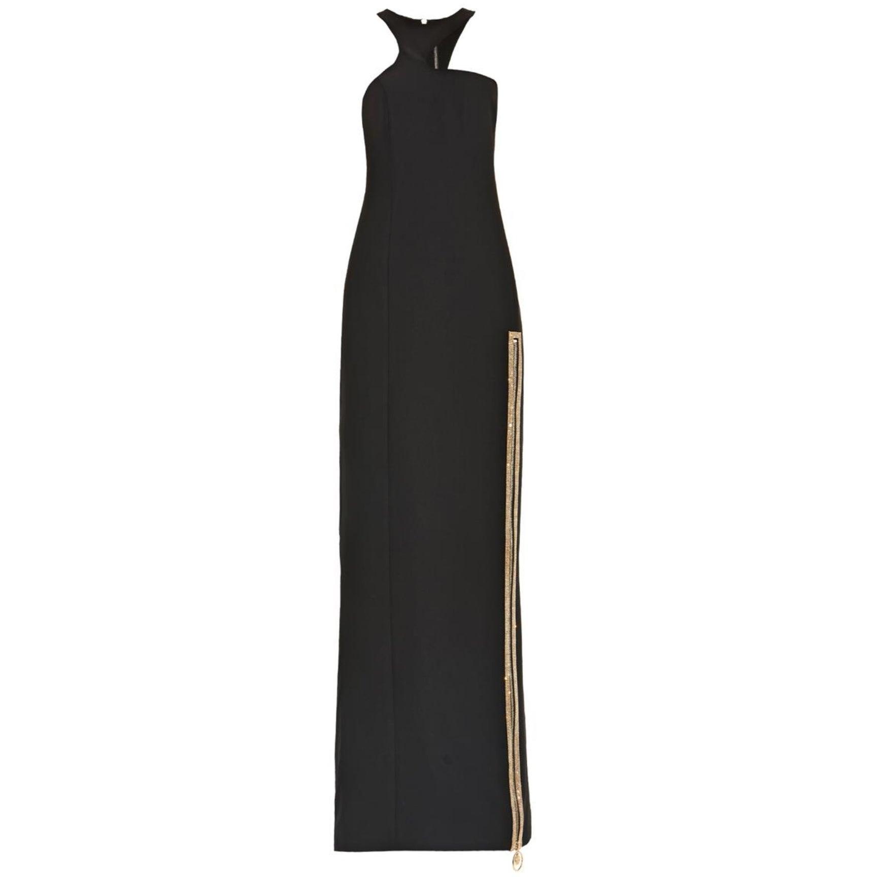 Versace Black Crystal-Embellished Silk Gown at 1stdibs