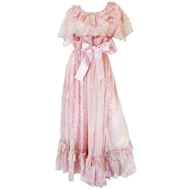 "Rare 1974 ""The Lily"" Collection Zandra Rhodes Dress Set 1"