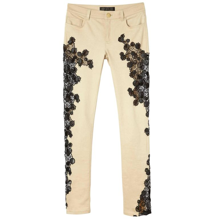 New VERSACE Contrast Lace Panel Jeans 1