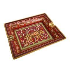 Hermes Red & Gold Tiger Ashtray