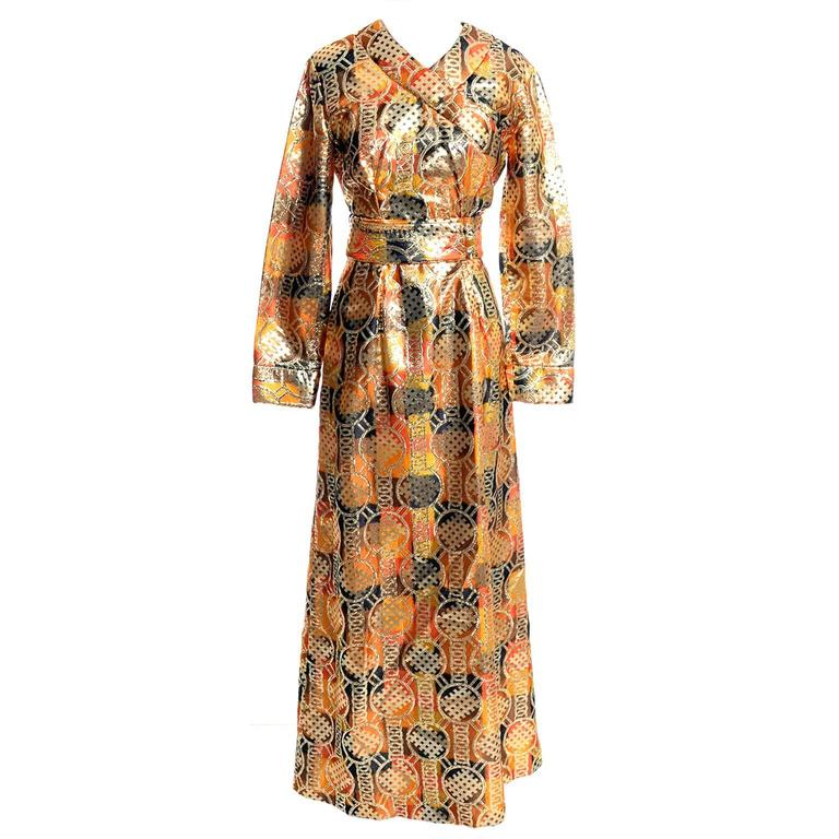 1970s Krist Mod Gold & Copper Lame Metallic Vintage Maxi Dress Asian Inspired For Sale