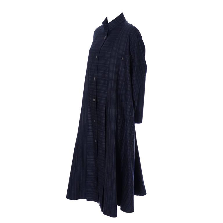 Harve Benard Pinstripe Wool Vintage Coat Modern Swing Japanese Inspired