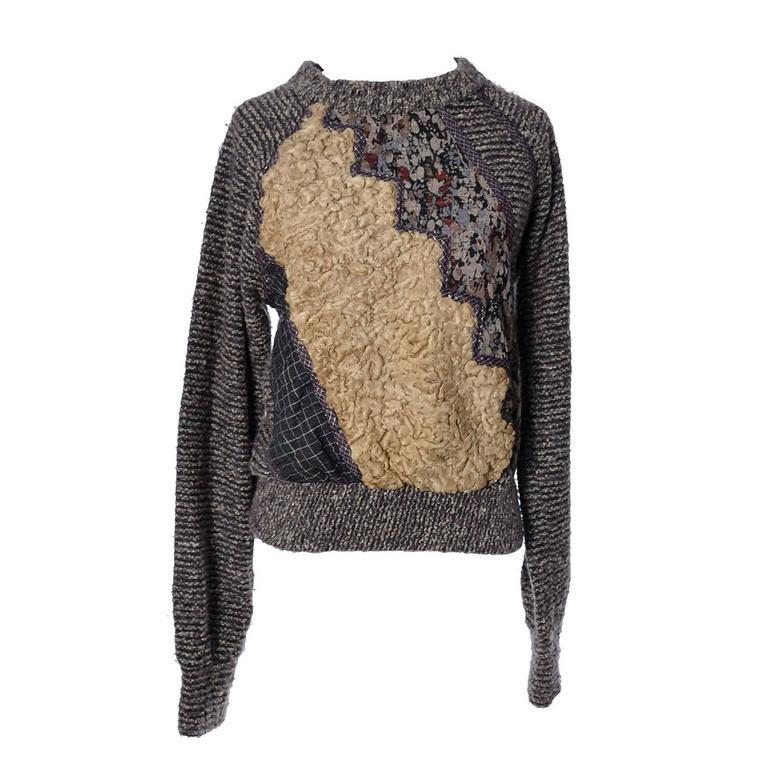 Koos Van Den Akker Vintage Sweater in Mixed Texture Wool Curly Lambswool 36B