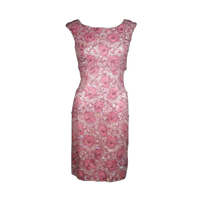 1960\'s SAKS 5TH AVE Pink Floral Brocade Hand Beaded Cocktail Dress ...
