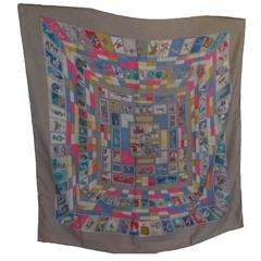 "Hermes scarf  ""Correspondance"" designed by Cathy Latham"