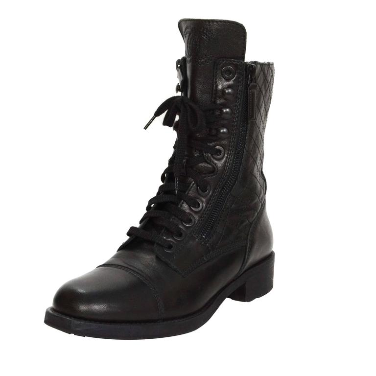 Chanel Black Leather Lace Up Combat Boots sz 39 For Sale