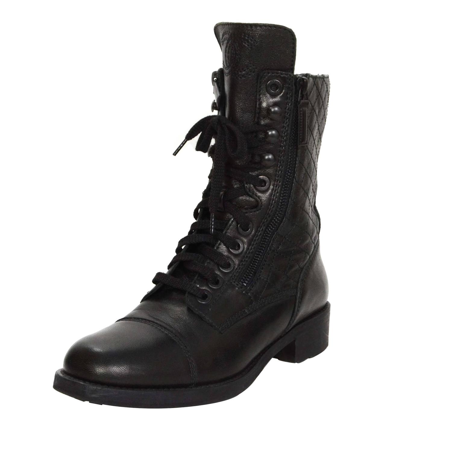 chanel black leather lace up combat boots sz 39 at 1stdibs
