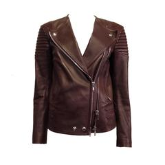Givenchy Burgundy Ribbed Leather Motorcycle Jacket Size 38 (6)