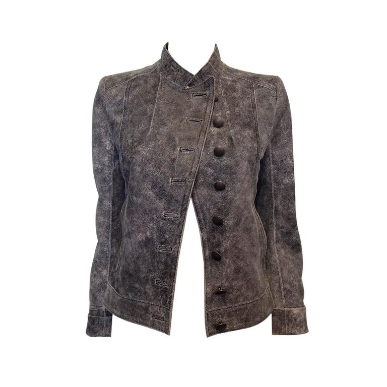 Ann Demeulemeester Grey Distressed Leather Jacket For Sale