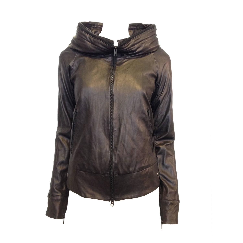 LGB Black Leather Hooded Bomber Jacket at 1stdibs