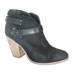 Rag & Bone Black Suede Black booties w/ Leather Wrap-Around Strap - 41