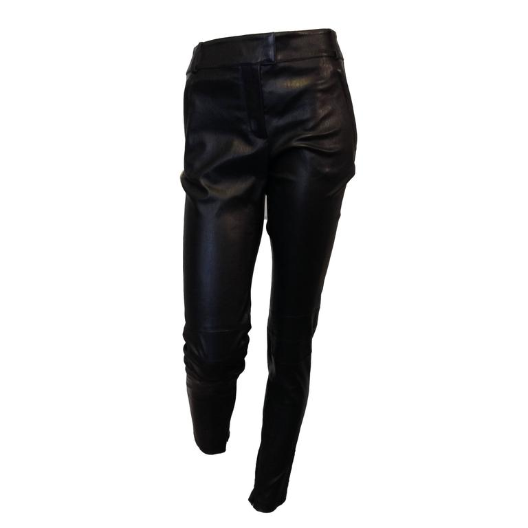 Givenchy Black Leather Pants Size 38 (6) For Sale