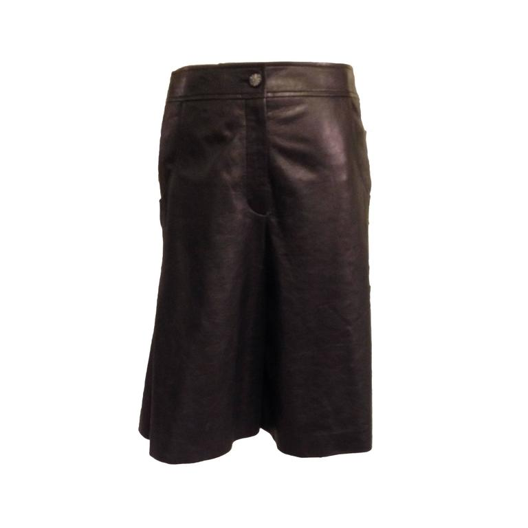 Chanel Black Leather Culottes Size 42 (10) 1