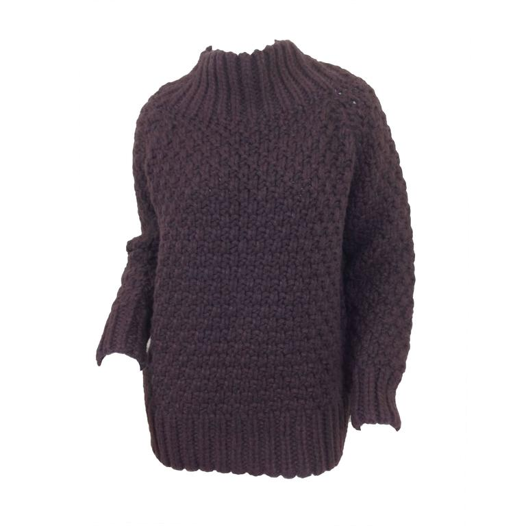 Aubergine cashmere basket weave The Row sweater    Size S 1