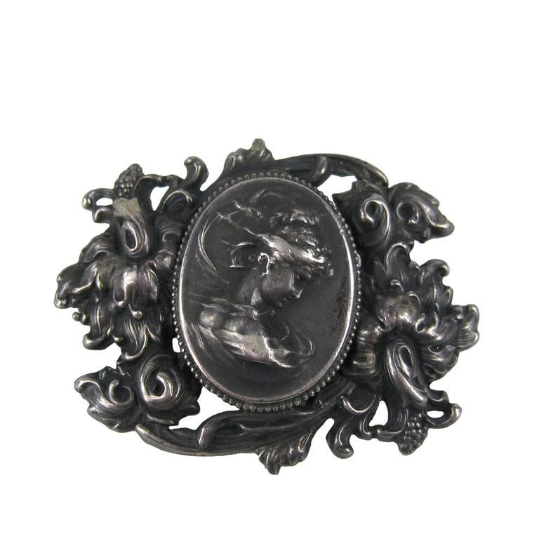 Victorian Sterling Silver Lovely Lady Portrait Brooch Pin For Sale