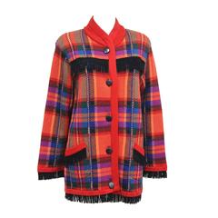 1970s Yves Saint Laurent Plaid Woollen Cardian Jacket With Suede Fringing